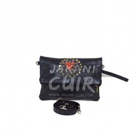 sac pochette noiren cuir maroacain