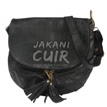 Black shoulder leather bag for Women