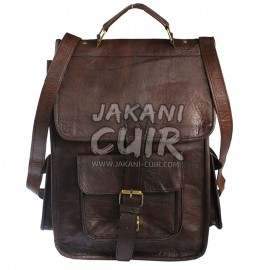 Moroccan dark brown leather backpack