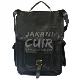 Moroccan Black leather backpack