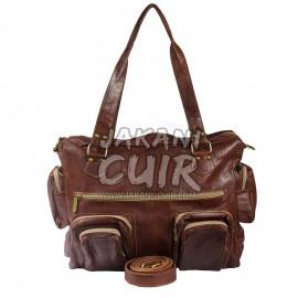 sac marron femme en cuir marocain