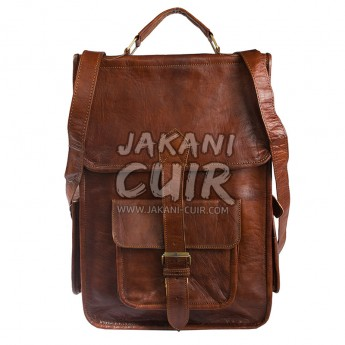 Moroccan brown leather backpack