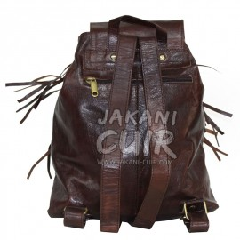 Moroccan Leather Backpack With Fringes