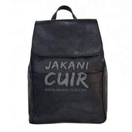 Moroccan black leather backpack (women)