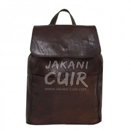 Moroccan drack  brown leather backpack