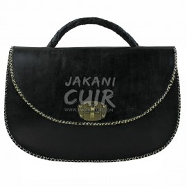 sac-pochette  noir classe  en cuir marocain