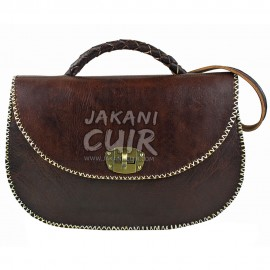 sac-pochette  marron foncé classe  en cuir marocain